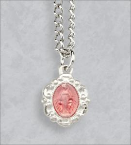 Sterling Silver Pink Enameled Miraculous Medal 18in Chain