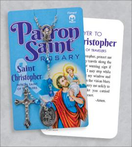 St Christopher Rosary On Prayer Card