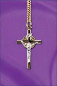 STERLING SILVER TWO TONE CRUCIFIX ON 18