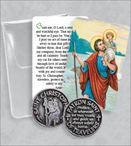 Saint Christopher Prayer Token Packet with Saint Christopher Image