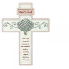 8in Pink Baptism Cross with Easel Back Boxed