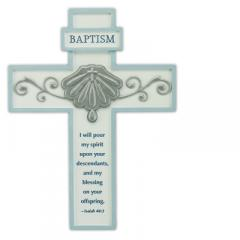 8in Blue Baptism Cross with Easel Back Boxed