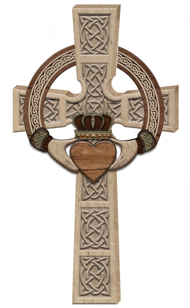 7 X 12in Claddagh Wall Cross with Card Boxed