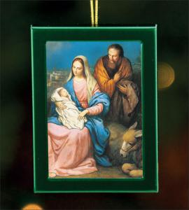1.75 in x 2.5 in Green Brushed Metal Ornament with Holy Family