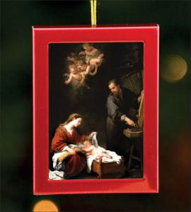 1.75 in x 2.5 in Red Brushed Metal Ornament with Holy Family