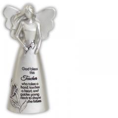 5in Silver Finish Bless This Teacher Angel Figurine Boxed