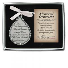 2.75 X 2.25in Those We Love Tear Ornament with Crystals & White Ribbon Silver Finish Boxed