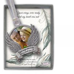 Wings Were Ready Photo Ornament on White & Gold Ribbon Gift Box