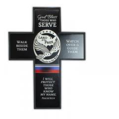 6 X 8in Bless Those Who Serve Silver Finish Cross with Easel & Hanger Boxed