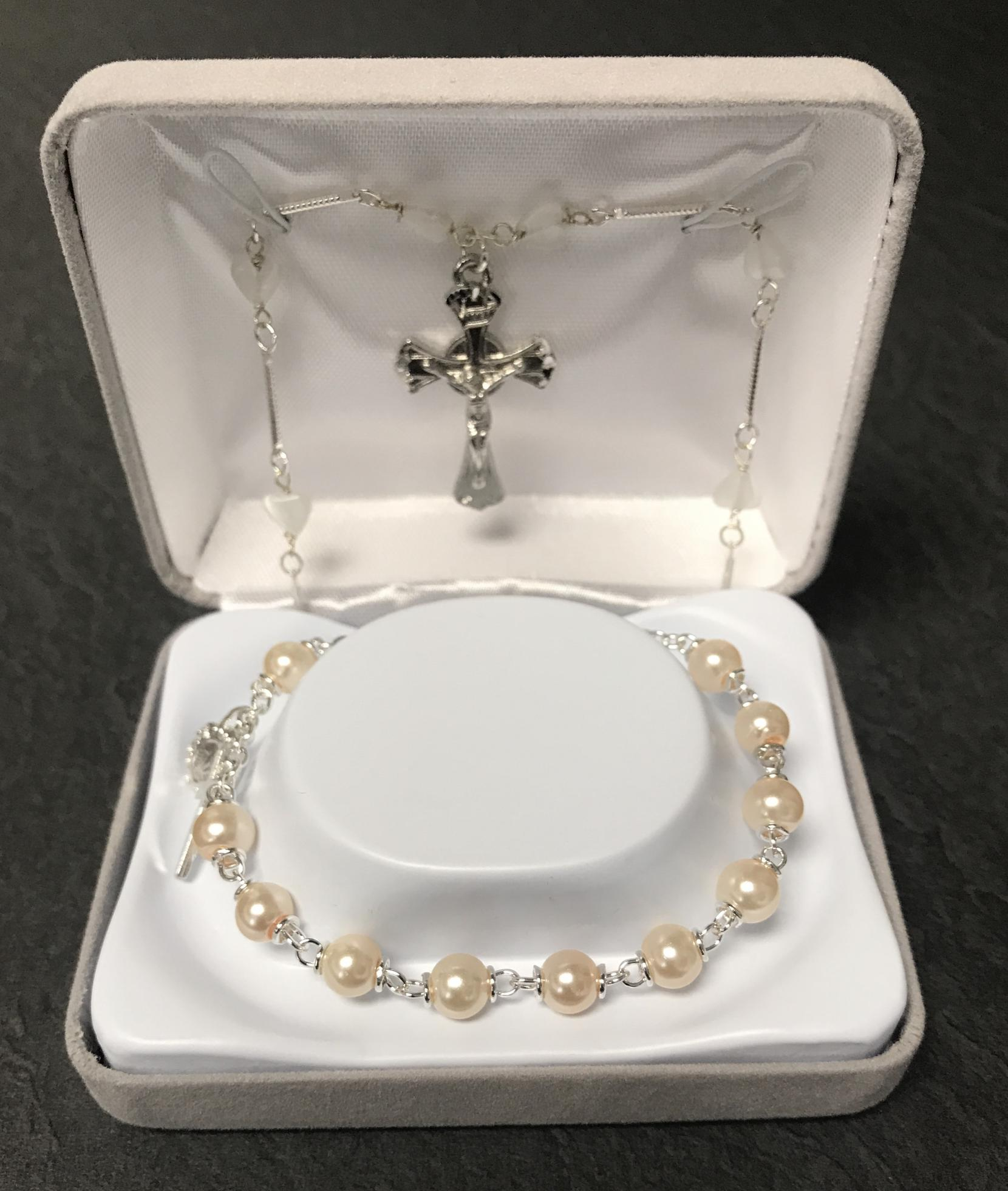 6mm PEARL FC BRACELET WITH NECKLACE GIFT BOXED