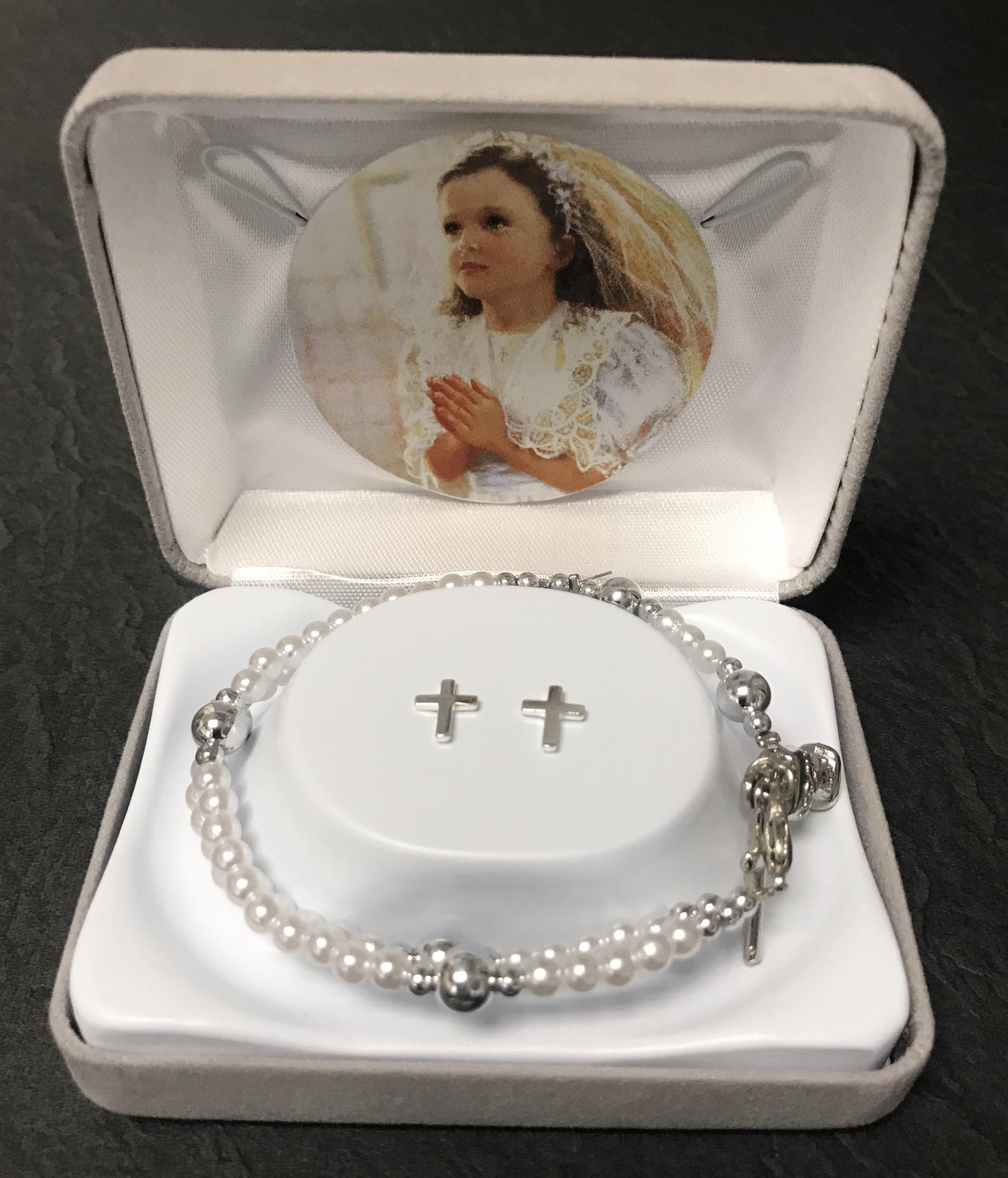 PEARL 59 BEAD FC BRACELET WITH EARRINGS GIFT BOXED