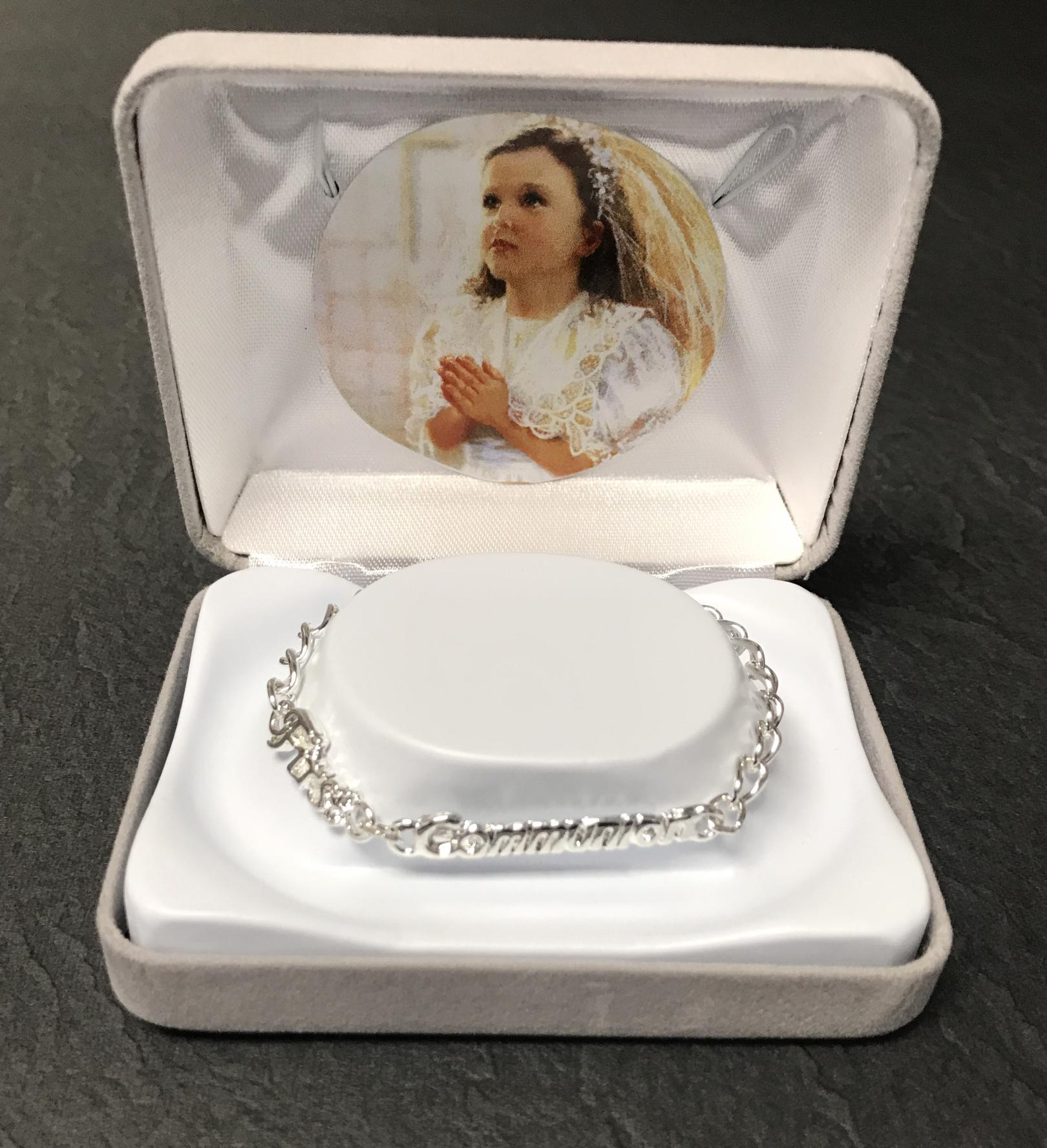 SILVER FIRST COMMUNION BRACELET GIFT BOXED