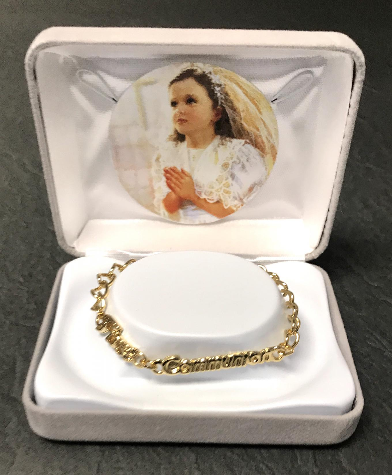 GOLD FIRST COMMUNION BRACELET GIFT BOXED