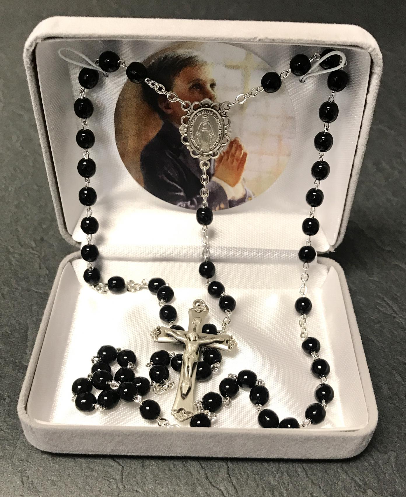 5mm BLACK STERLING SILVER WIRE & CHAIN FC ROSARY GIFT BOXED