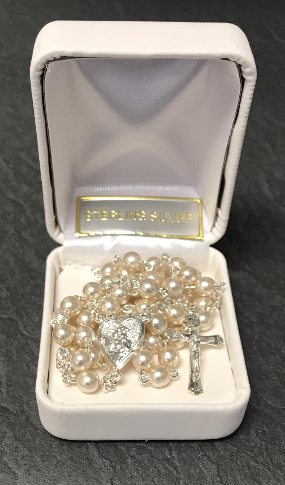 5mm PEARL STERLING SILVER FC ROSARY GIFT BOXED