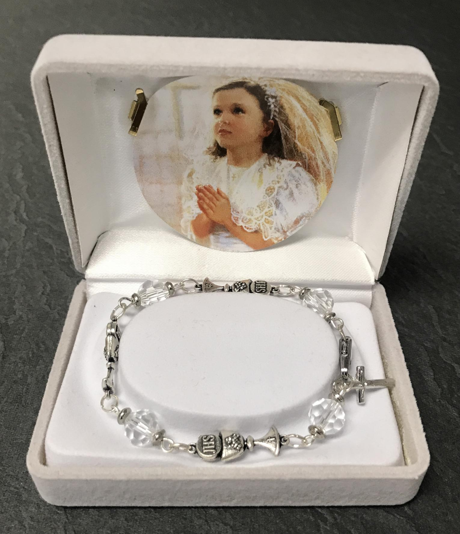 CRYSTAL & CHALICE FIRST COMMUNION  BRACELET GIFT BOXED