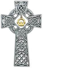 4.5in Celtic Cross with Gold Claddagh Charm Gift Boxed