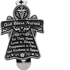 God Bless Nurses Angel Visor Clip Carded