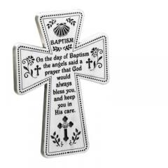 5in Baptism Standing Cross with Wire Easel Gift Boxed Silver Finish