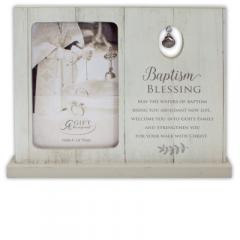7.5 X 9.5in Baptism Blessing Standing Frame with Shell Charm Boxed