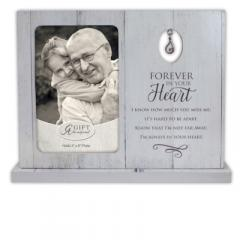 9.5 X 7.5in Forever In Your Heart Standing Frame with Tear Charm Boxed