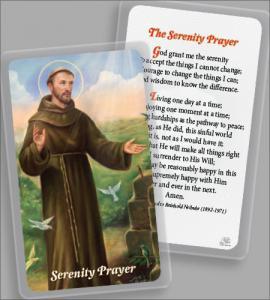 Laminated Holy Card: Saint Francis with Serenity Prayer