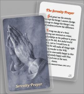 Laminated Holy Card: Praying Hands with Serenity Prayer