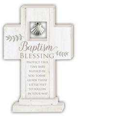 Baptism Blessing 6in Standing Cross with Shell Charm Gift Boxed