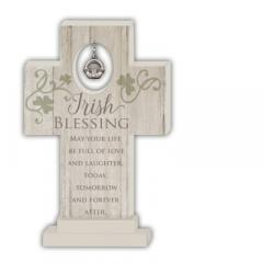 6in Irish Blessing Standing Cross with Claddagh Charm