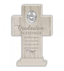 Graduation 6in Wood Standing Cross With Celtic Cross Charm