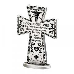 3in Nurse Standing Message Cross Silver Finish Gift Boxed