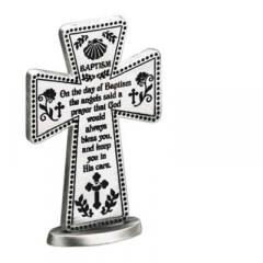 3in Baptism Standing Message Cross Gift Boxed