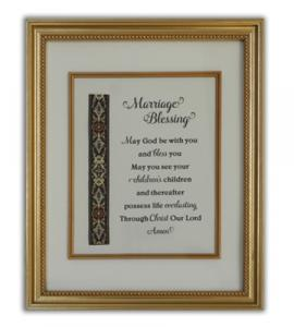 Marriage Blessing Wall Plaque In Gold Frame Boxed