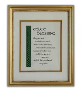 Celtic Blessing Wall Plaque In Gold Frame Boxed