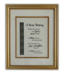 House Blessing Wall Plaque In Gold Frame Boxed